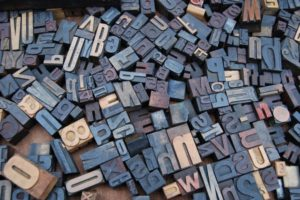 diverse blog styles represented by wooden letters for movable type